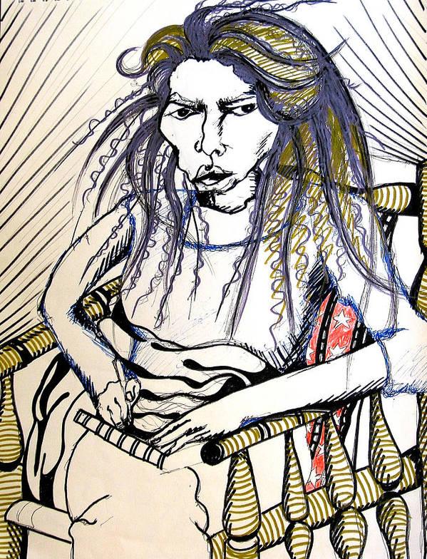 Femal Poster featuring the drawing Elham by Nina Mirhabibi