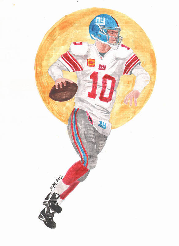 Nfl Poster featuring the painting Eli Manning Superbowl Xlvi Mvp by Paul McRae