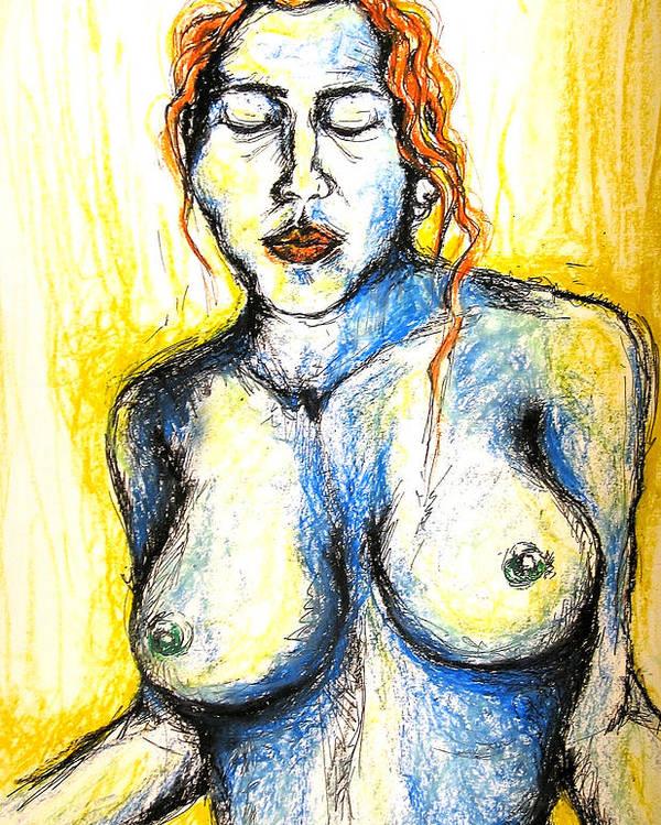 Woman Poster featuring the pastel Eli by Nina Mirhabibi