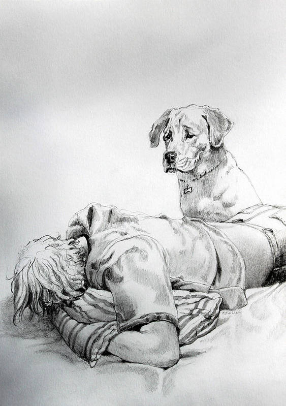 Dog Poster featuring the drawing Empathy by Hanne Lore Koehler