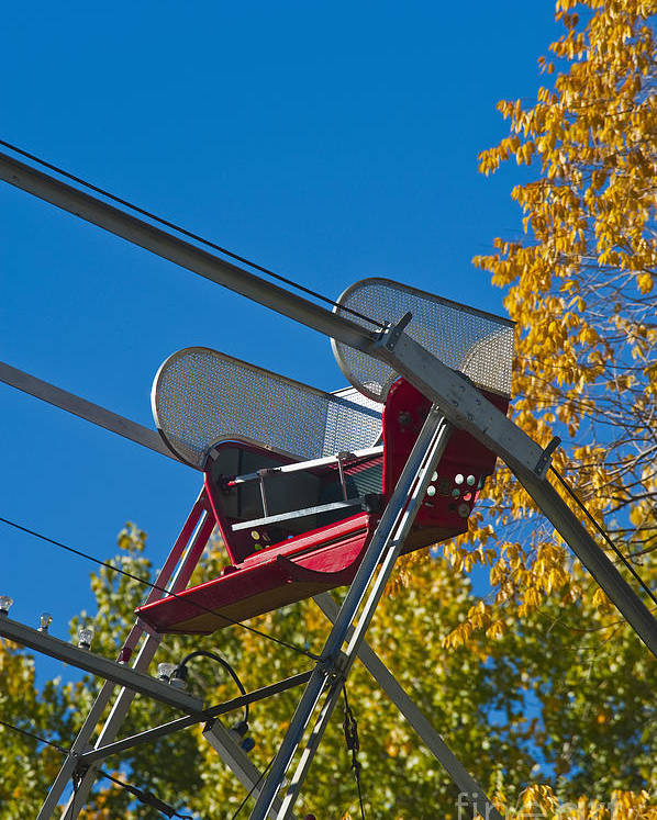 Amusement Poster featuring the photograph Empty Chair On Ferris Wheel by Thom Gourley/Flatbread Images, LLC