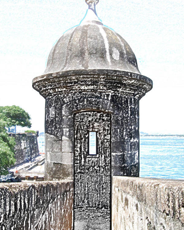 Travelpixpro Puerto Rico Poster featuring the digital art Entrance To Sentry Tower Castillo San Felipe Del Morro Fortress San Juan Puerto Rico Colored Pencil by Shawn O'Brien