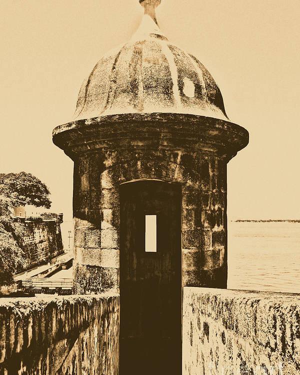 Travelpixpro Puerto Rico Poster featuring the digital art Entrance To Sentry Tower Castillo San Felipe Del Morro Fortress San Juan Puerto Rico Rustic by Shawn O'Brien