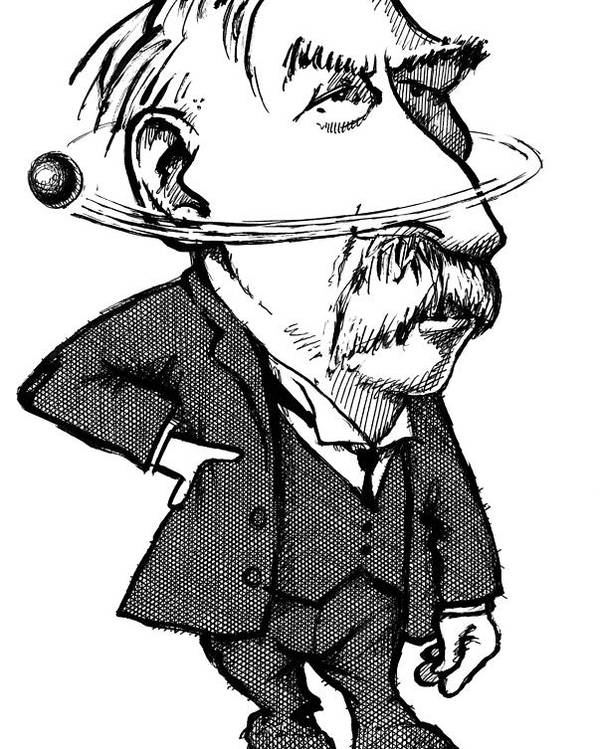 Ernest Rutherford Poster featuring the photograph Ernest Rutherford, Caricature by Gary Brown