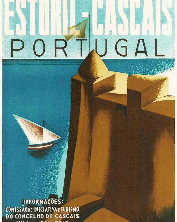Estoril Cassais Poster featuring the digital art Estoril Cassais by Georgia Fowler