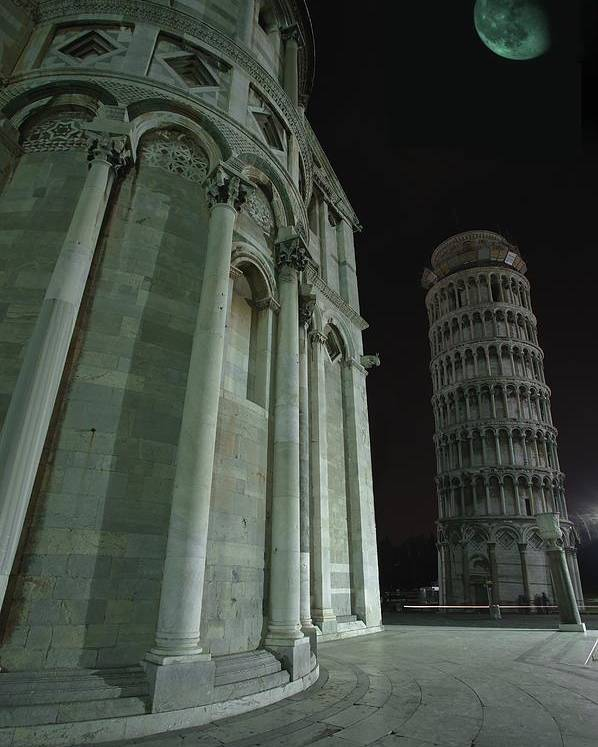 Architectural Poster featuring the photograph Ethereal Moonlight Scene Of Duomo Santa by Carson Ganci