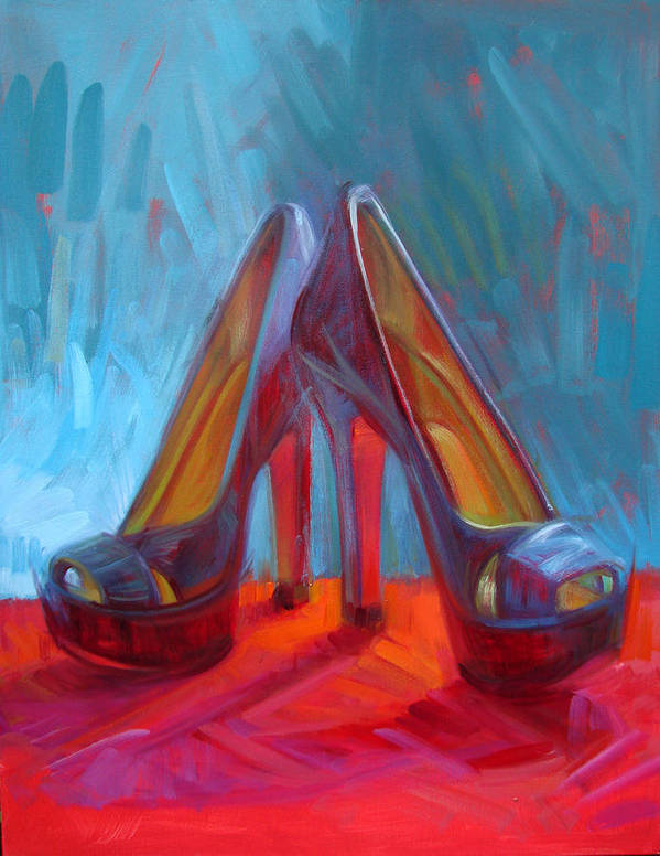 Shoe Paintings Paintings Poster featuring the painting Ever Eloquent by Penelope Moore