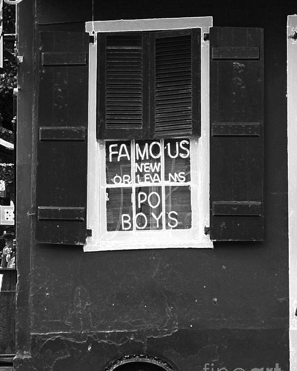 Travelpixpro New Orleans Poster featuring the digital art Famous New Orleans Po Boys Neon Window Sign Black And White Accented Edges Digital Art by Shawn O'Brien