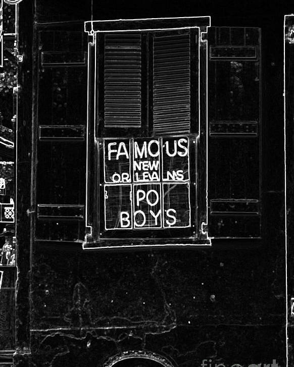 Travelpixpro New Orleans Poster featuring the digital art Famous New Orleans Po Boys Neon Window Sign Black And White Glowing Edges Digital Art by Shawn O'Brien