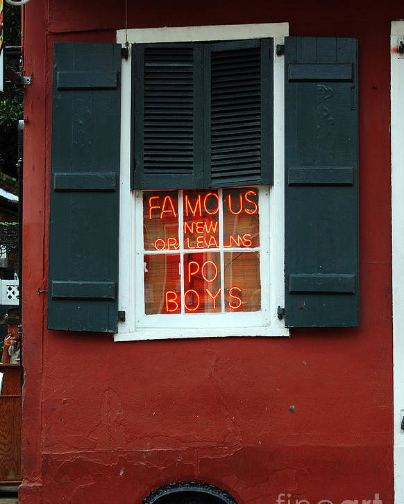 Travelpixpro New Orleans Poster featuring the photograph Famous New Orleans Po Boys Red Neon Window Sign by Shawn O'Brien