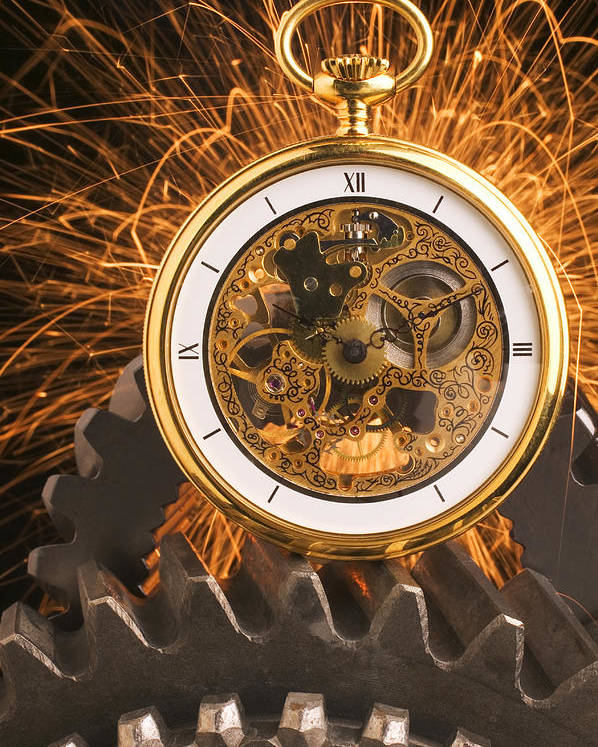 Fancy Poster featuring the photograph Fancy Pocketwatch On Gears by Garry Gay
