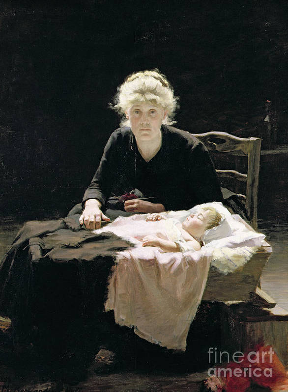 Motherhood; Mother; Maternal; Cot; Manger; Bed; Baby; Child; Asleep; Sleeping; Crib; Vigil; Worry; Anxiety; Anxious; Cradle; Berceau; Fantine Poster featuring the painting Fantine by Margaret Hall