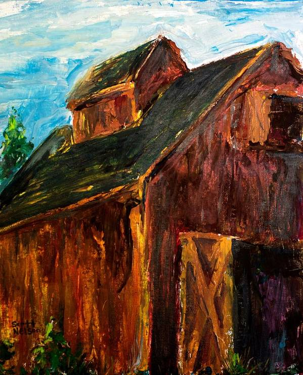 Farm Poster featuring the painting Farm Barn by Scott Nelson