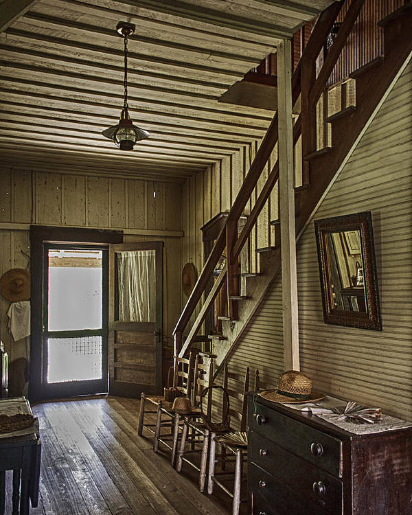 Flight Of Stairs Poster featuring the photograph Farmhouse Entry Hall And Stairs by Lynn Palmer