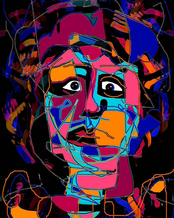 Colorful Expression Poster featuring the mixed media Feeling Blue by Natalie Holland