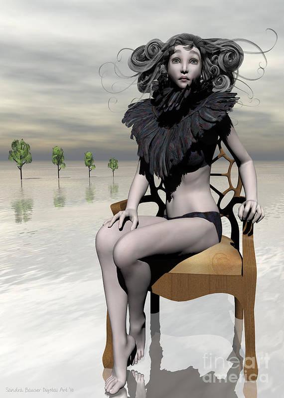Bryce Poster featuring the digital art Femme Avec Chaise by Sandra Bauser Digital Art