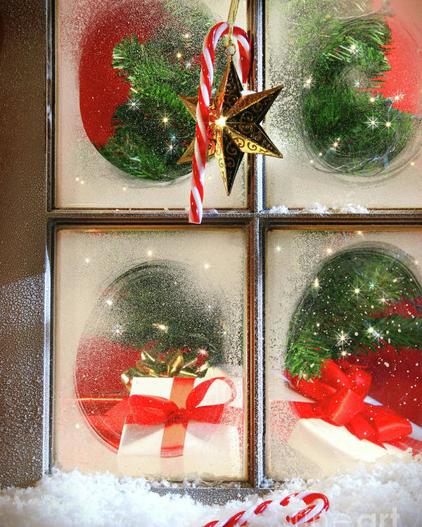 Background Poster featuring the photograph Festive Holiday Window by Sandra Cunningham