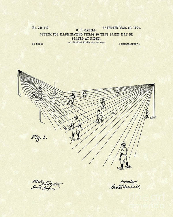 Cahill Poster featuring the drawing Field Lighting 1904 Patent Art by Prior Art Design