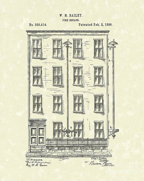 Bailey Poster featuring the drawing Fire Escape 1886 Patent Art by Prior Art Design