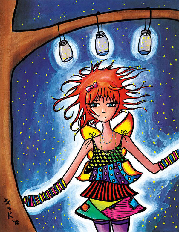 Anime Poster featuring the painting Firefly Girl by Jen Kiddo