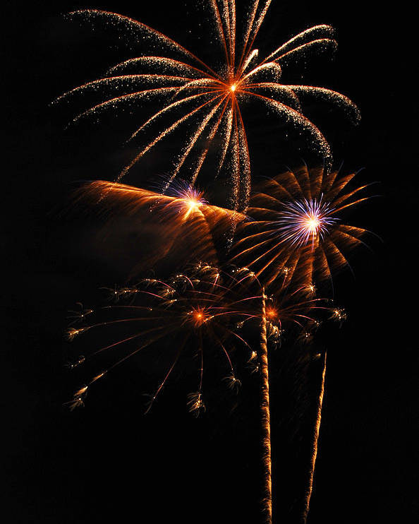 Fireworks Poster featuring the photograph Fireworks 1580 by Michael Peychich