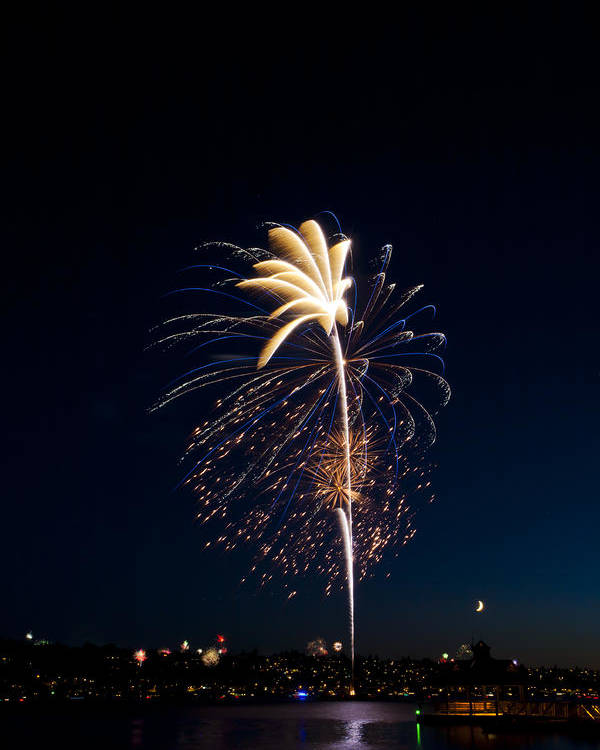 Fireworks Poster featuring the photograph Fireworks Over Lake Washington by David Rische