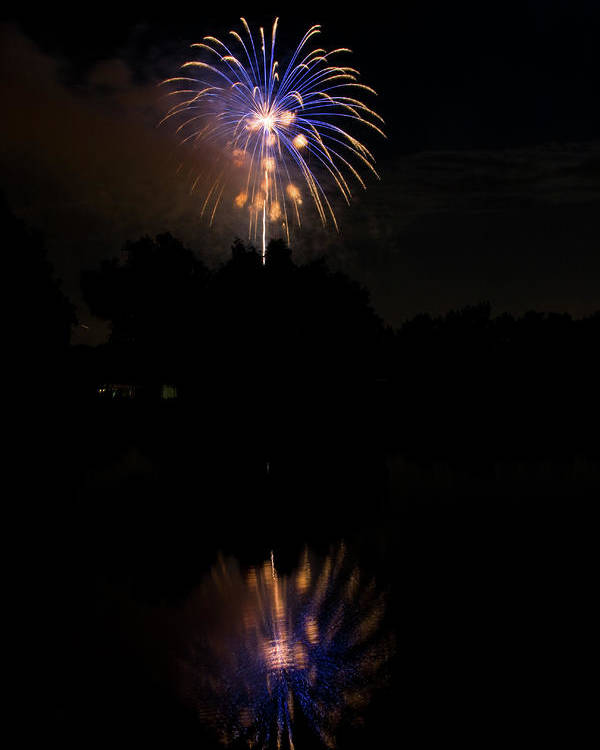 4th Of July Poster featuring the photograph Fireworks Reflection by James BO Insogna