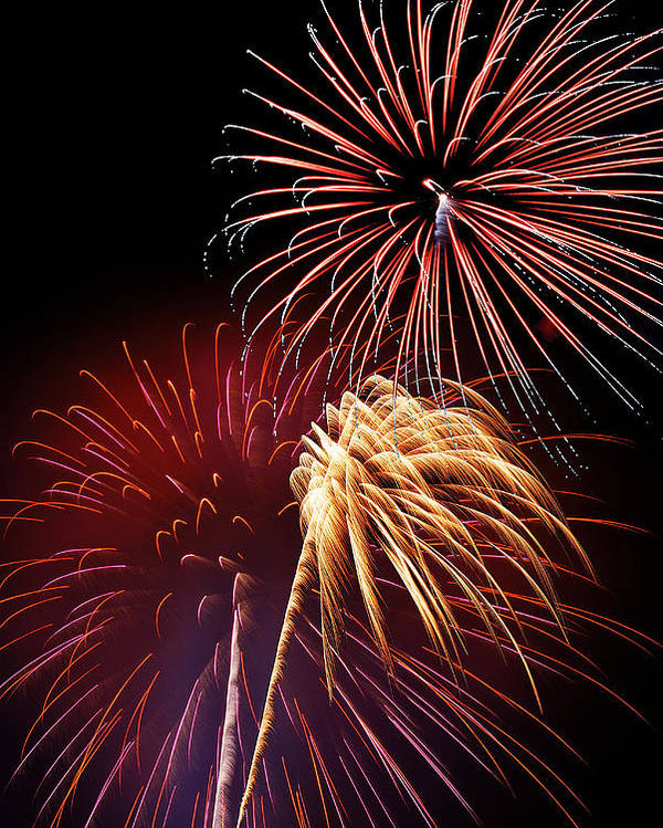 Fireworks Poster featuring the photograph Fireworks Wixom 3 by Michael Peychich
