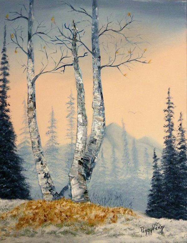 Mountains Poster featuring the painting First Kiss of Winter by Peggy King
