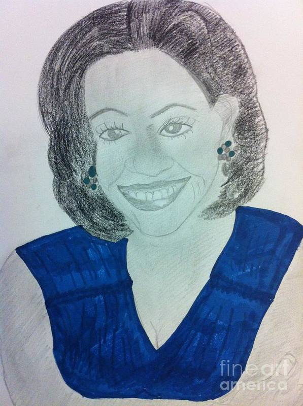 People Poster featuring the drawing First Lady Michelle Obama by Charita Padilla