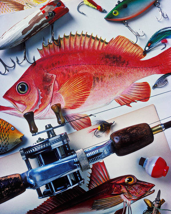 Fishing Lures Bobbers Color Colour Plastic Replica Interest Pass Poster featuring the photograph Fish Bookplates And Tackle by Garry Gay