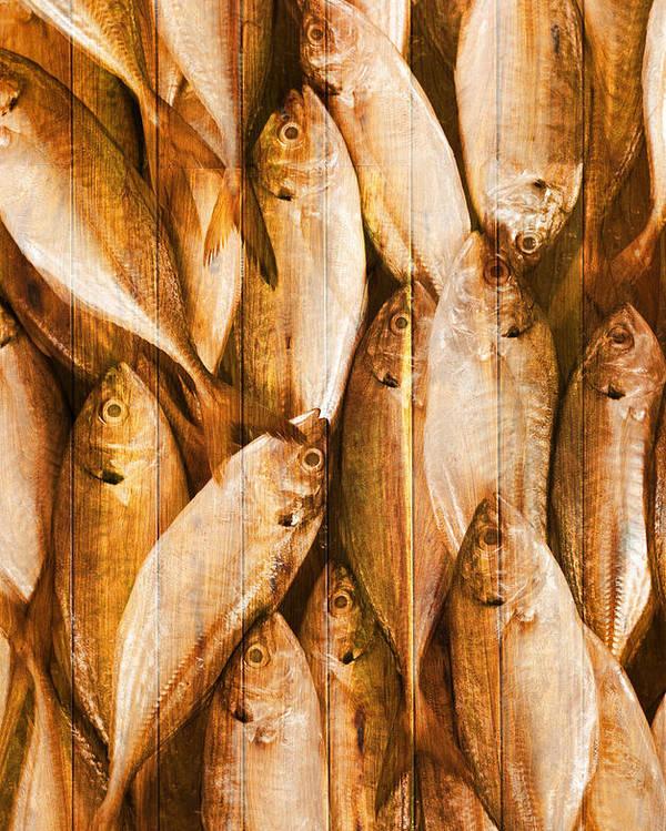 Backdrop Poster featuring the photograph Fish Pattern On Wood by Setsiri Silapasuwanchai