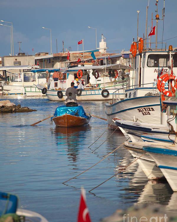 Harbour Poster featuring the photograph Fisherman At Yumurtalik by Gabriela Insuratelu