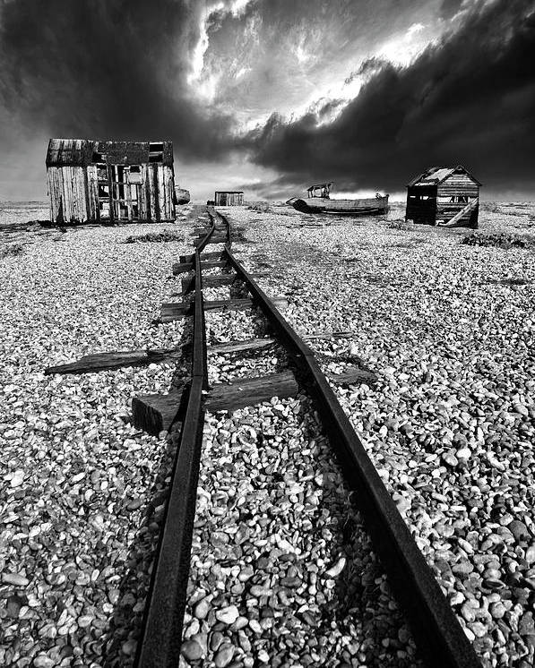 Black And White Poster featuring the photograph Fishing Boat Graveyard 6 by Meirion Matthias