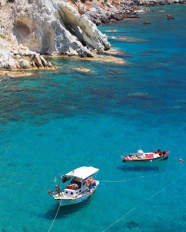 Agios Isidoros Poster featuring the photograph Fishing Boats 2 by Emmanuel Panagiotakis