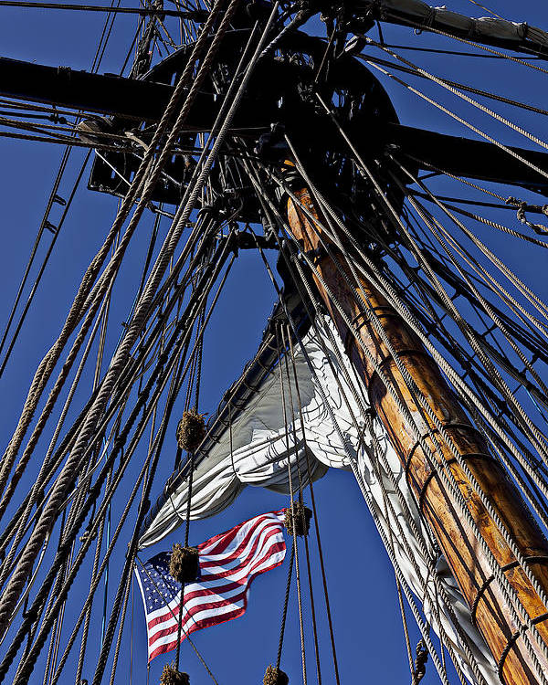 American Poster featuring the photograph Flag In The Rigging by Garry Gay