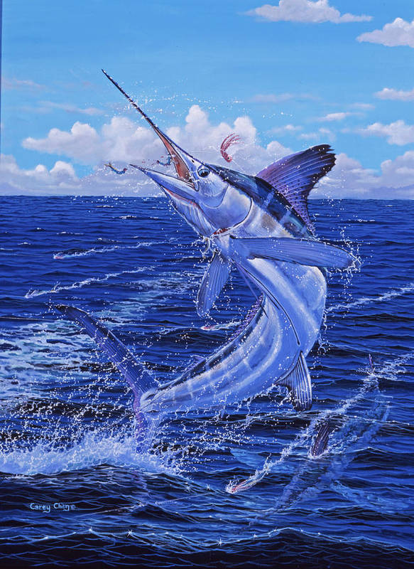 White Marlin Poster featuring the painting Flat Line by Carey Chen