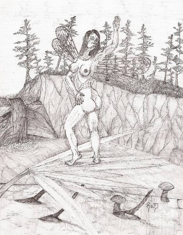 Fairy Poster featuring the drawing Flexible In The Morning... - Sketch by Robert Meszaros