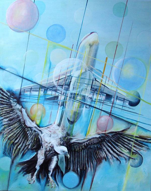 Air Airplane Vulture Bird Flight Flying Fly Painting Blue Poster featuring the painting Flight by Rust Dill