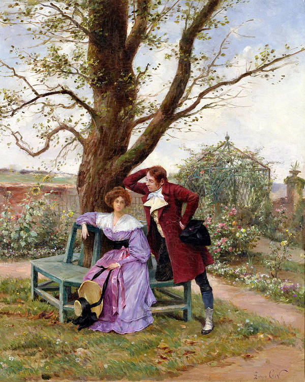 Courting; Garden Scene; Courtship; Love; Conversation; Gazebo; Victorian Poster featuring the painting Flirtation by Georges Jules Auguste Cain