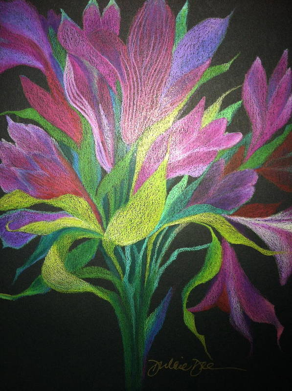 Floral Poster featuring the drawing Floral Fantasy 1 by Dulcie Dee
