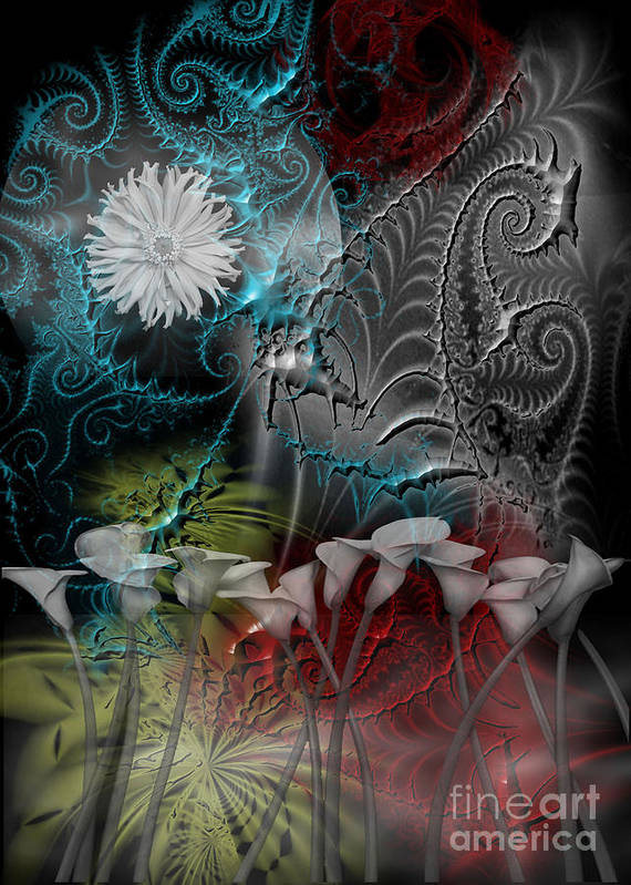 Calla-lily Poster featuring the digital art Floral Fractal by Gia Simone