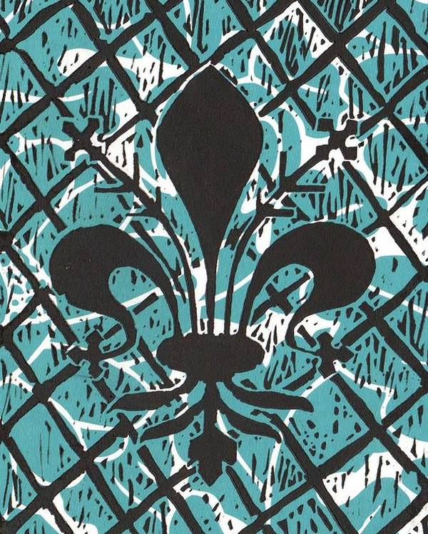 Fleur De Lis Poster featuring the mixed media Florentine Fleur Ginger T by Julia Forsyth