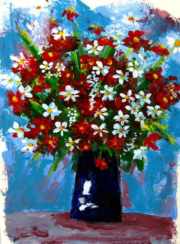 Red Poster featuring the painting Flower Arrangement Bouquet by Patricia Awapara