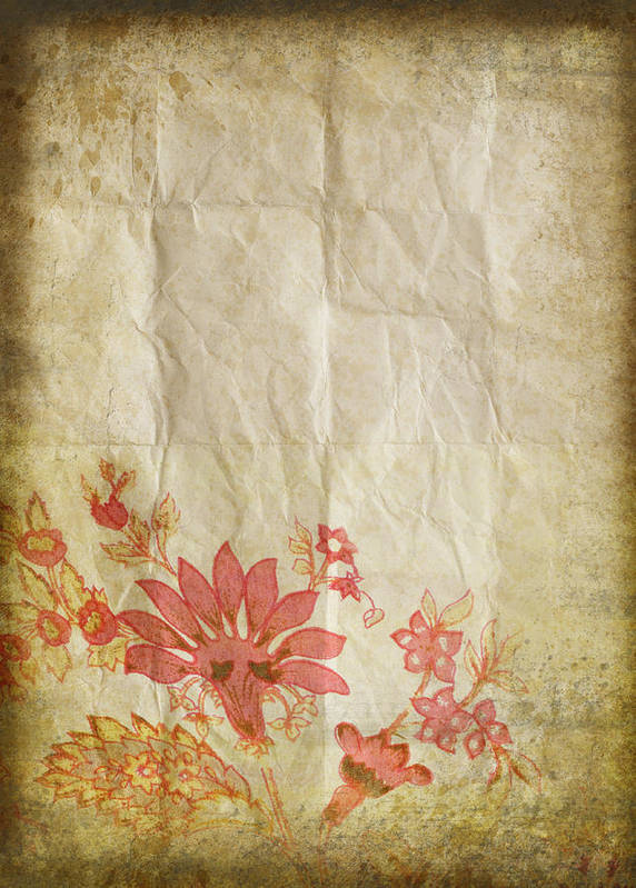 Abstract Poster featuring the photograph Flower Pattern On Old Paper by Setsiri Silapasuwanchai