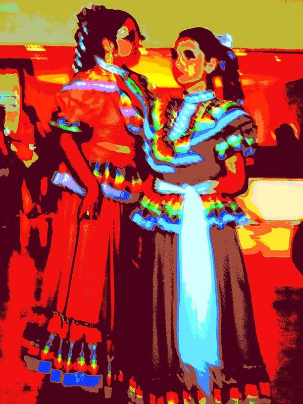 Ballet Folklorico Poster featuring the digital art Folklorico Dancers by Randall Weidner