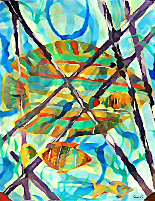 Multi Colored Fish Poster featuring the painting Follow Me by Tish Eggleston
