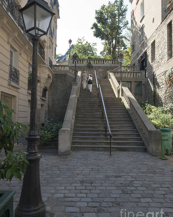 Staircase Poster featuring the photograph Foreshortening Of Montmartre With Street Lamp And Staircase by Fabrizio Ruggeri