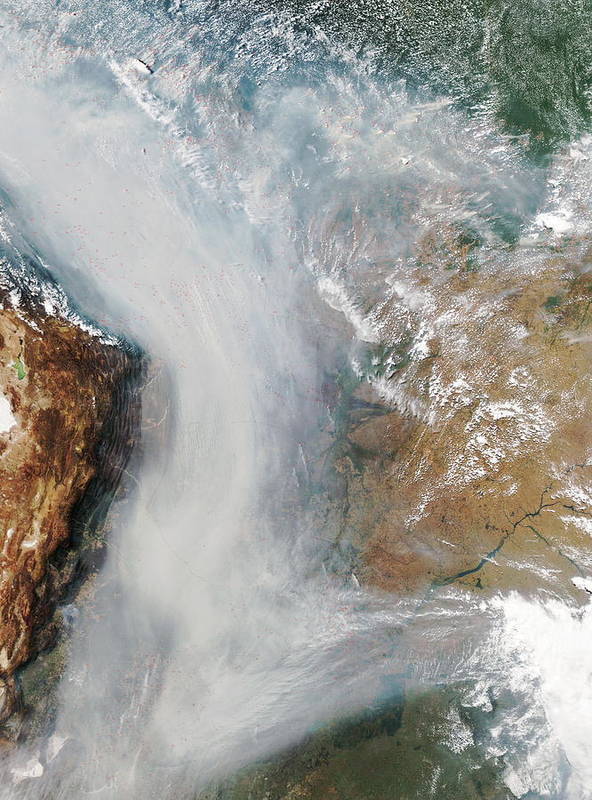 Andes Poster featuring the photograph Forest Fires In South America by Nasa