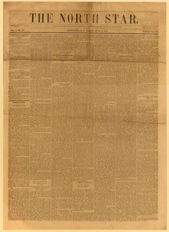 History Poster featuring the photograph Front Page Of The North Star, June 2 by Everett